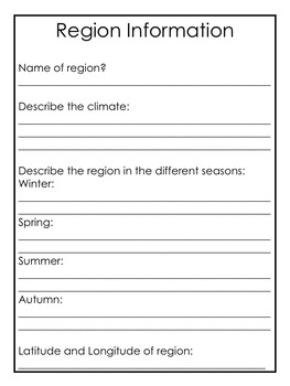 California Regions Research, Writing, Activity Pack