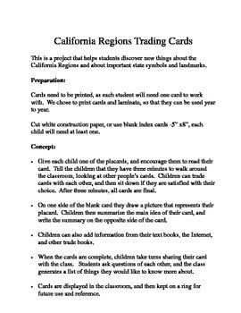 California Regions Trading Cards