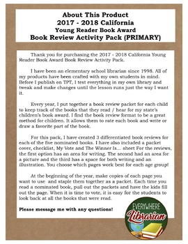 California School Library 2017 - 2018  Young Reader Award PRIMARY Review Pack