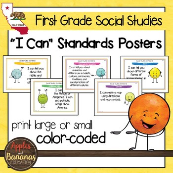 California Social Studies Standards - First Grade Posters and Statement Cards