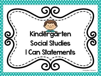 California Social Studies I Can Statements for Kindergarten