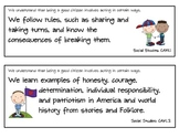 California Social Studies Kindergarten Standards Display Cards