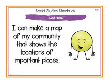 California Social Studies - Kindergarten Standards Posters and Statement Cards