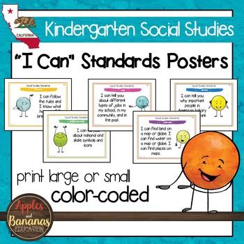 California Social Studies - Kindergarten Standards Posters
