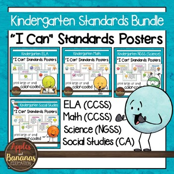 California Standards for Kindergarten - All Subjects - Posters & Statement Cards
