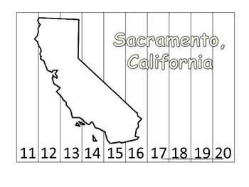 California State Capitol Number Sequence Puzzle 11-20.  Geography and Numbers.