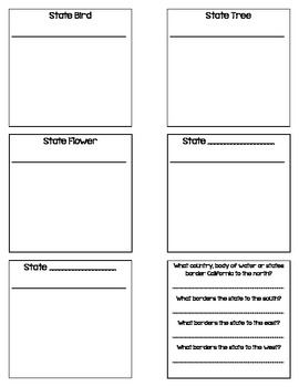 California State Facts Foldable Graphic Organizer