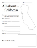 California State Facts Worksheet: Elementary Version