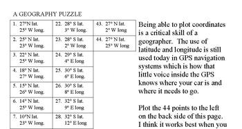 California State Latitude & Longitude Coordinates Puzzle - 44 Coordinates