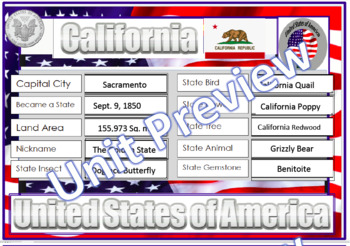 California State Symbols - Question Cards, Wordsearch, PDF