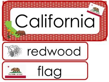 California State Word Wall Bulletin Board Set. Geography Curriculum.