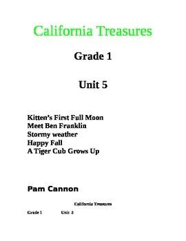California Treasures Grade 1 Unit 5 Questions and Activities