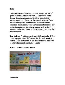 California Treasures Word Wall Unit 1