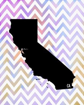 California Chevron State Map Class Decor, Government, Geography