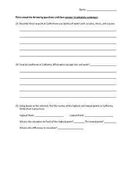 California's Land and Water Worksheet