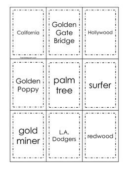 California themed Memory Matching and Word Matching preschool curriculum game.