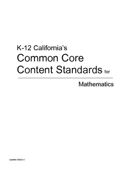 California's Common Core Content Standards for Mathematics