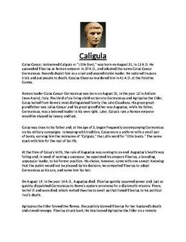 Caligula Biography Article and assignment