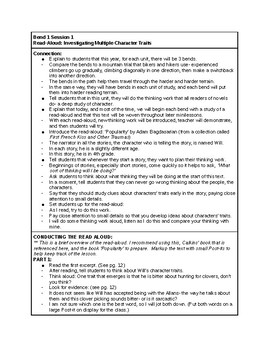 Calkins' A Deep Study about Characters grades 6-8 Cheat Sheets for BEND 1