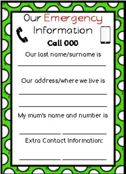 Call 000 EMERGENCY CONTACT INFORMATION Just for mums!