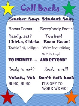 Call Back and Attention Grabbers for Classroom Management