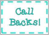 Call Backs! 10 Fun Call & Response Cards to help with Clas