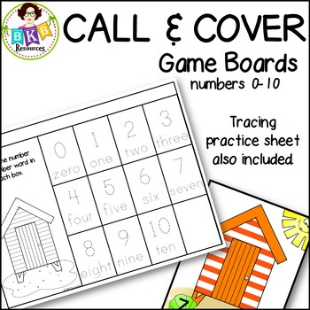 Number Games to 10 ● Call & Cover Beach House Game Boards ● Math Games