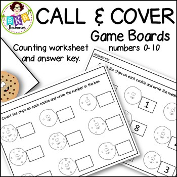 Call & Cover Cookie Game Boards ● Number Recognition ● Numbers 0-10