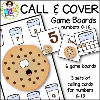 Number Recognition Game ● Call & Cover Cookie Game Boards ● Numbers 0-10