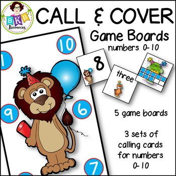 Call & Cover Game Boards ● Number Recognition ● Numbers 0-10 ● small group