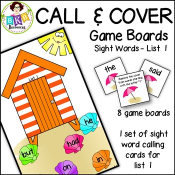 Call & Cover Sight Word Game Boards ● Sight Words List 1 ● Literacy Centers ●