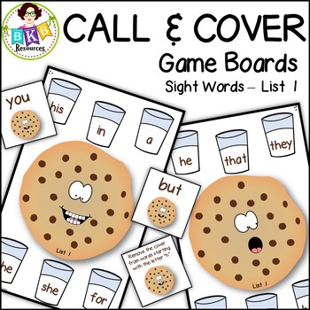 Sight Word Game ● Call and Cover Sight Word Game Boards ● Sight Words List 1
