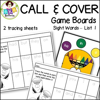 Call & Cover Sight Word Game Boards ● Sight Words List 1 ● Literacy Centers