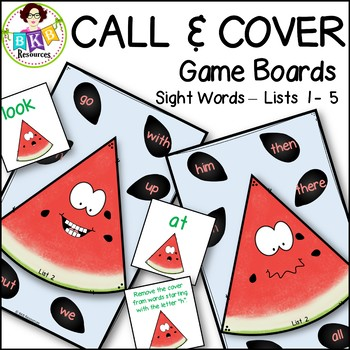 Call & Cover Sight Word Game Boards ● Sight Words Lists 1 -5 ● Literacy Centers