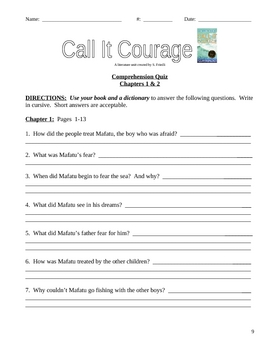 Call It Courage - Armstrong Sperry COMPLETE literature unit 35 pages