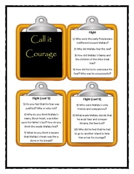 CALL IT COURAGE by Armstrong Sperry - Discussion Cards
