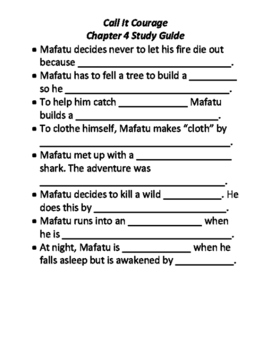 Call It Courage Study Sheet Ch 4