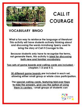Call It Courage Vocabulary Bingo