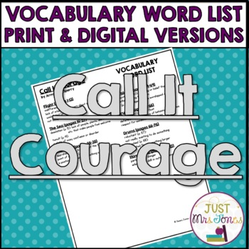 Call It Courage Vocabulary Word List
