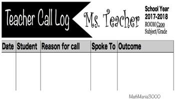 Call Log Form EDITABLE