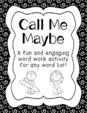 Call Me Maybe Word Work