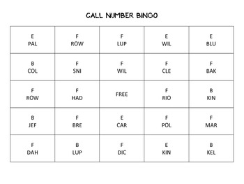 Call Number Bingo by KMediaFun