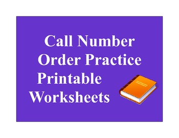 Call Number Order Practice Printable Worksheets Library Skills