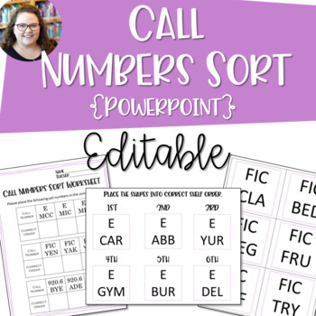 Call Numbers Sort Cards and Worksheets {EDITABLE}