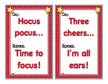 100 Fun Call & Respond Attention Grabbers - Posters in High Quality Graphics