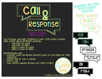 Call and Response Mini Posters: Black and White on White