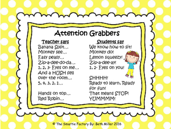 Call and Response Sayings or Attention Grabbers