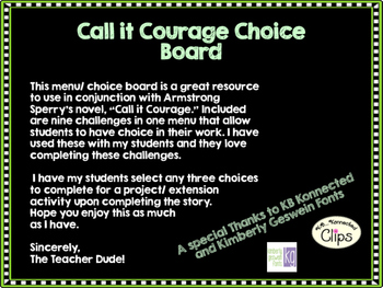 Call it Courage Choice Board