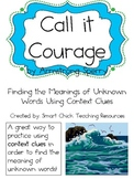 Call it Courage, by Armstrong Sperry, Context Clues Packet