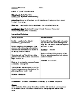 Call of the Wild Camping Activity (Plan)